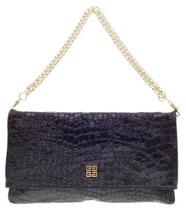 Givenchy Convertible Embossed Crocodile Black Clutch