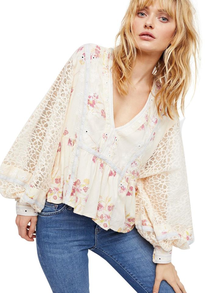 Free People Ivory Boogie All Night Printed Blouse Size 4 (S) - Tradesy