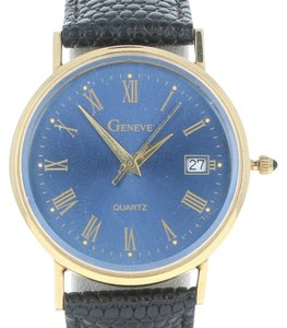 Geneve Geneve Watch w/ Box Swiss New Old Stock Serviced Battery 14k Gold Leat