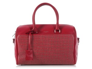Saint Laurent Studded Classic Duffel Satchel in Red