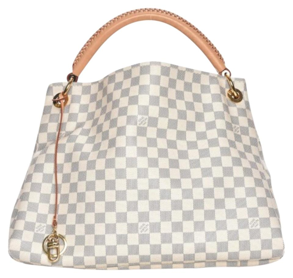 Louis Vuitton Artsy Mm Damier Azur Monogram Checkered Hobo Bag