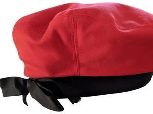 Chanel Vintage Chanel Red Bernet with Black Satin Ribbon