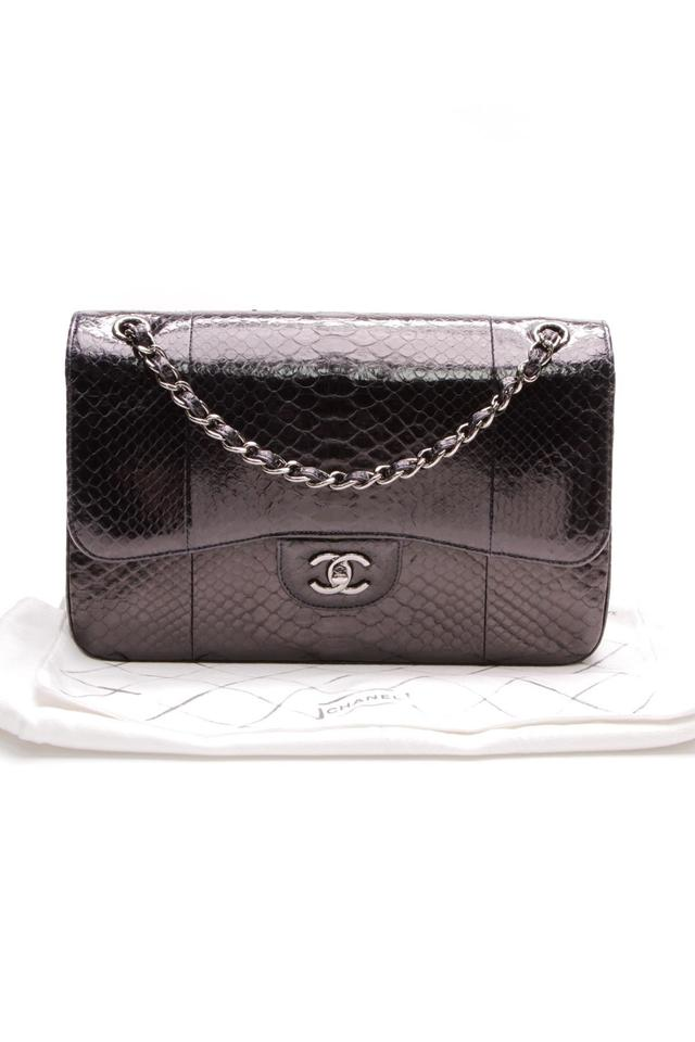 9f630d8c9981 Chanel Classic Flap Classic Double - Jumbo Navy Blue Python Skin Leather  Shoulder Bag - Tradesy