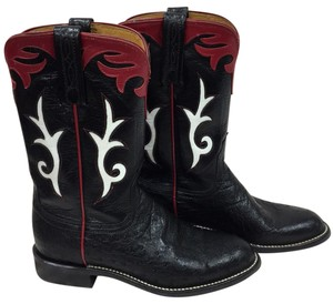 Lucchese black, red and white Boots