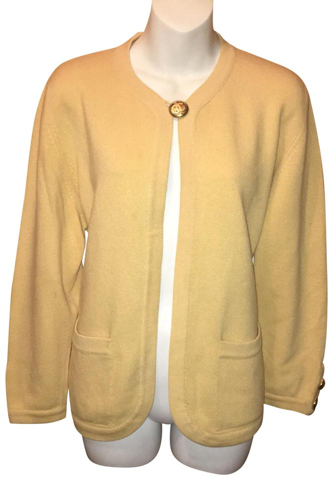 bea94939a7 Chanel Yellow One Button Cardigan Sweater/Pullover Size 8 (M) - Tradesy