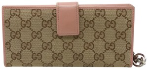 Gucci Signature Leather Trim GG Continental Canvas Zippy Long Wallet