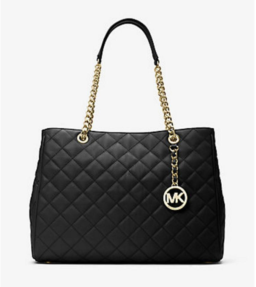 b3a76fe09fd5 Michael Kors Handbag Susannah Large Tote Satchel Hobo Black Quilted Leather  Shoulder Bag - Tradesy