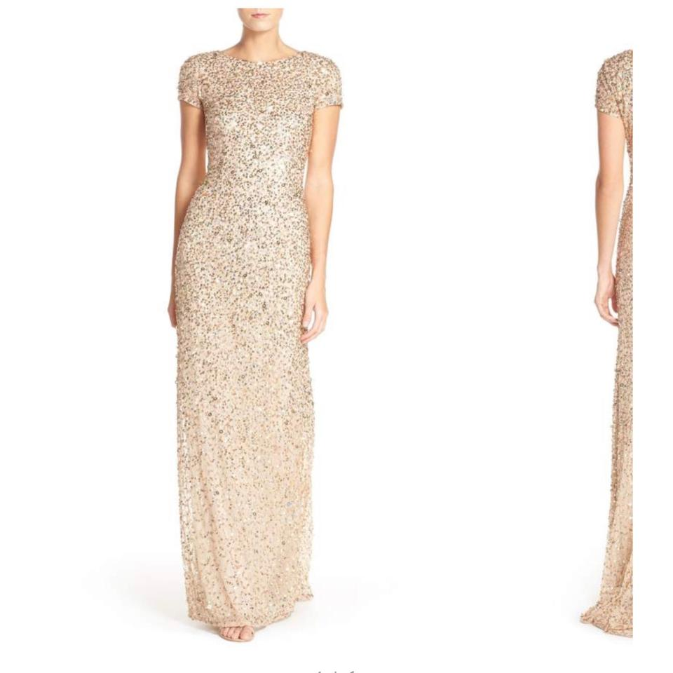 c7a43abb9bbc Adrianna Papell Champagne/ Gold Scoop Back Sequin Gown Long Formal ...