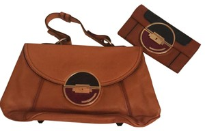 Hayden-Harnett Satchel in tan with navy and merlot accents