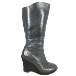 Kork-Ease Knee-high Leather Wedge black Boots