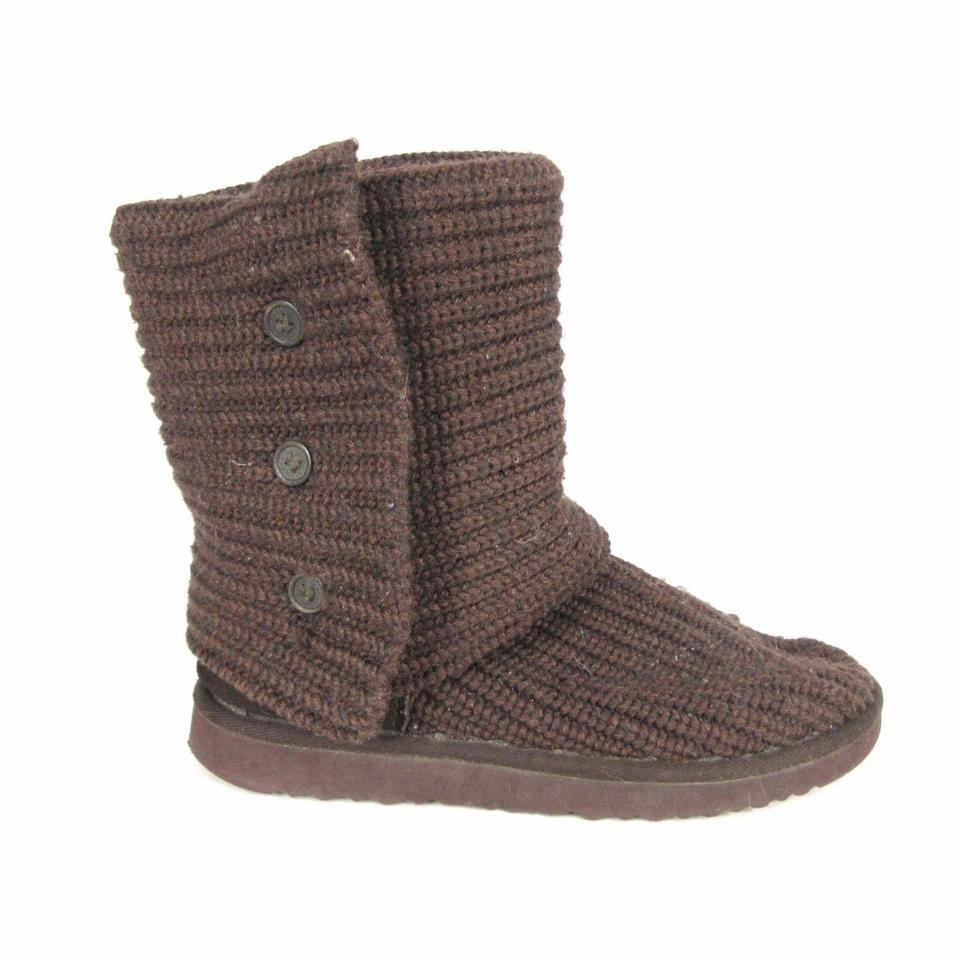 20f84b28d82 UGG Australia Brown - Womens Classic Cardy Knit Button Fold Over 052  Boots/Booties Size US 8 Regular (M, B)
