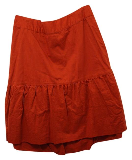 Unknown Western Bubble Trumpet Ruffle Skirt Rust Red