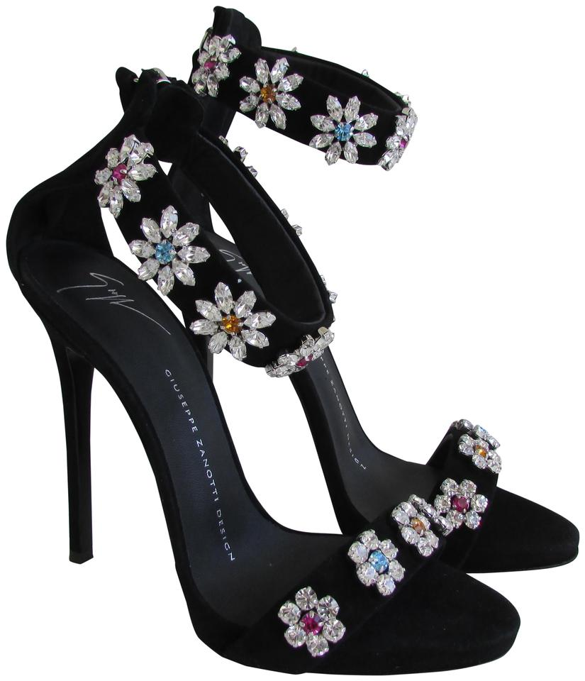 be250a76e91f2 Giuseppe Zanotti Black Suede Crystal Flower Embroidered Sandals Size ...