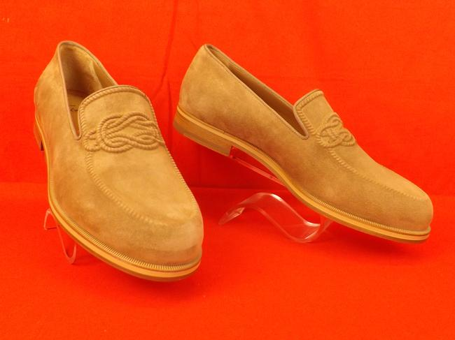 Item - Beige Dirk Suede Leather Lined Knot Embossed Loafers 43 10 Shoes