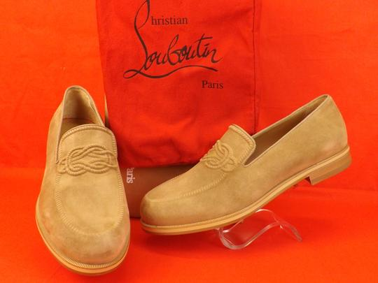 Christian Louboutin Beige Dirk Suede Leather Lined Knot Embossed Loafers 43 10 Shoes