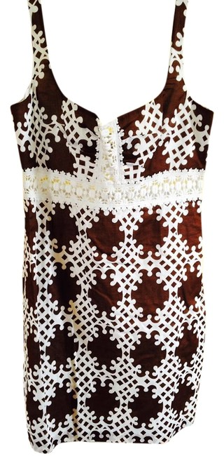 MILLY short dress Brown and White Lace Great Pattern on Tradesy