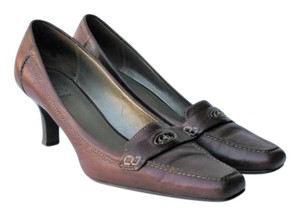 Circa Joan & David Spool Heel Loafer Brown Pumps