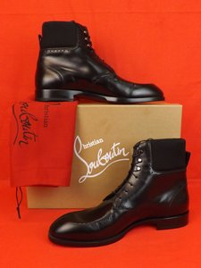 Christian Louboutin Black Wolfgang Leather Elastic Lace Up Brogue Boots 42 9 Shoes