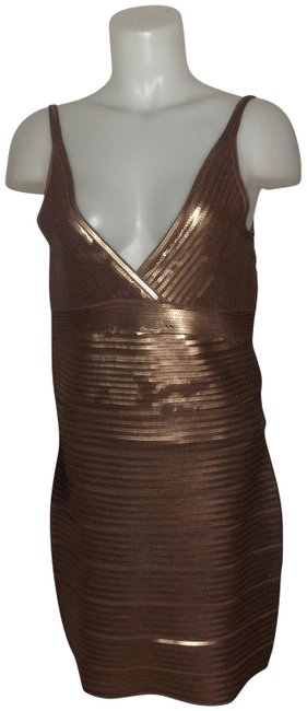 Item - Chocolate Brown Sequin Mid-length Night Out Dress Size 12 (L)