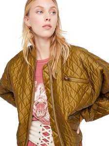 Free People Quilted Bomber Longsleeve Zipper moss Jacket