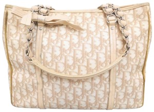 Dior Or Satchel Chrome Hardware Chain/Leather Straps Excellent Vintage Tote in white & pink Dior trotter print & pink leather