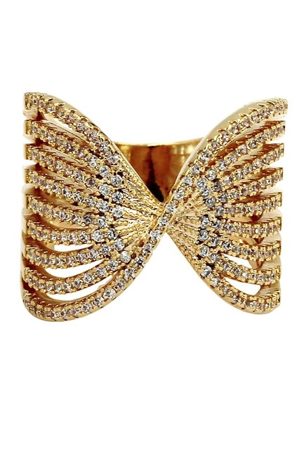 Ocean Fashion Gold Sparkling Crystal Butterfly Powder Ring Ocean Fashion Gold Sparkling Crystal Butterfly Powder Ring Image 1