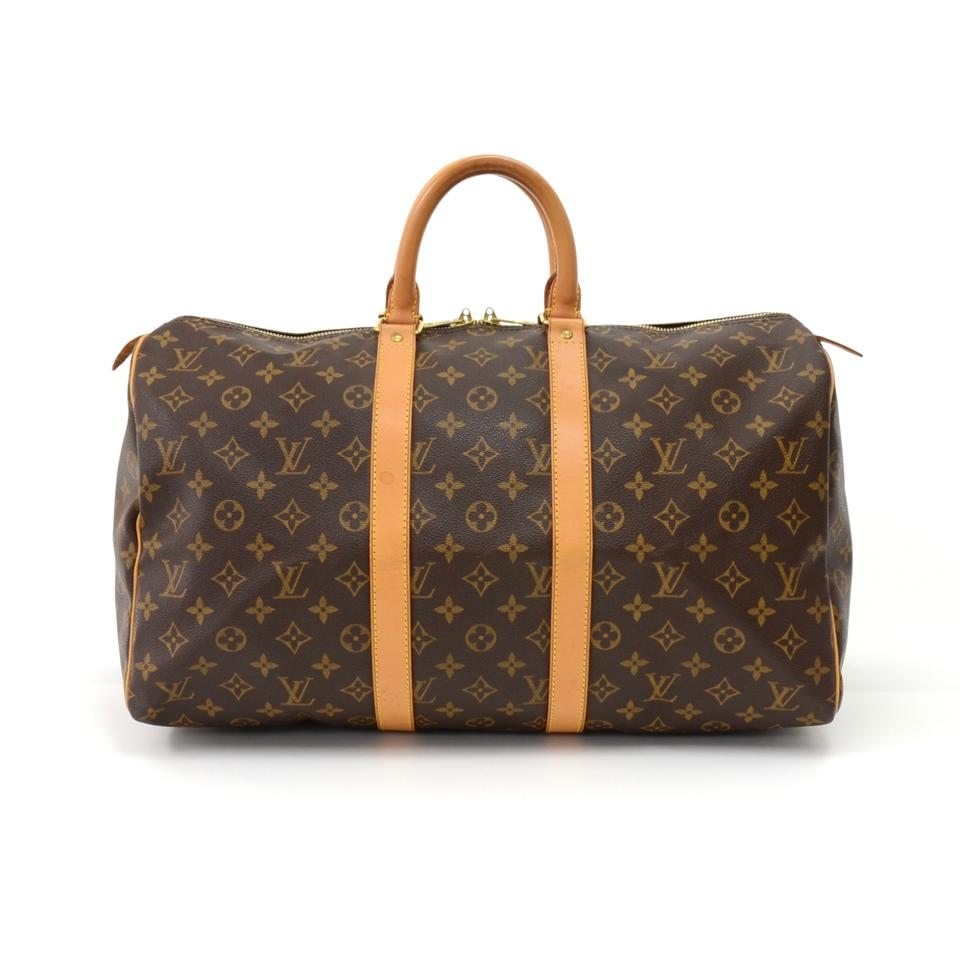 louis vuitton brown canvas keepall weekend travel bag tradesy. Black Bedroom Furniture Sets. Home Design Ideas