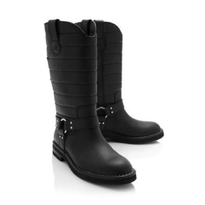 Chanel Cc Quilted Buckled Biker Motorcycle Black Boots