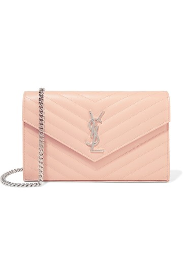 Saint Laurent Blush Calfskin Leather Monogram Envelope