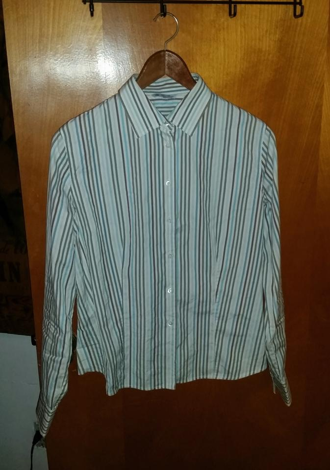 Loro piana white green brown striped classic button down for White shirt brown buttons