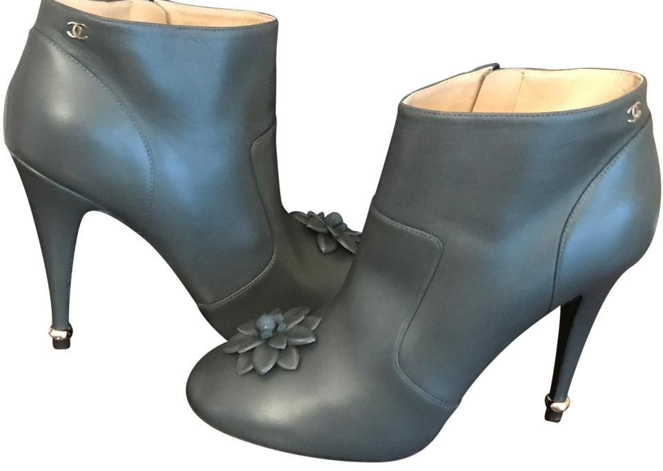 4bb85ac03228 Chanel Gray Leather Camellia Flower Ankle Heels Boots/Booties Size ...