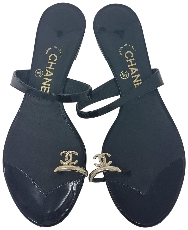 c4b4a2eb44abc Chanel Black Gold Patent Leather Logo Toe Ring Slide Sandals Size EU 39.5  (Approx.