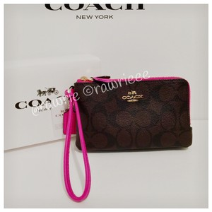 Coach Gift Box Signature Monogram Leather Wristlet in black brown pink