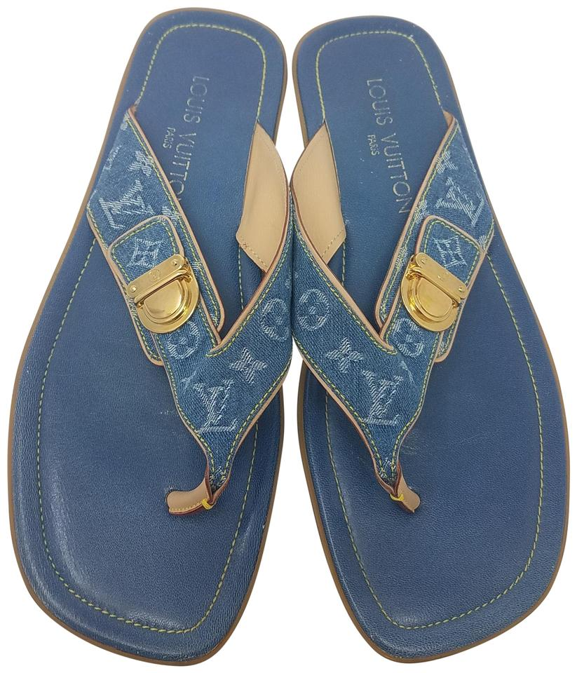 8d7cc8f0f626 Louis Vuitton Beige Blue Medium Wash Monogram Denim Sandals Size EU ...