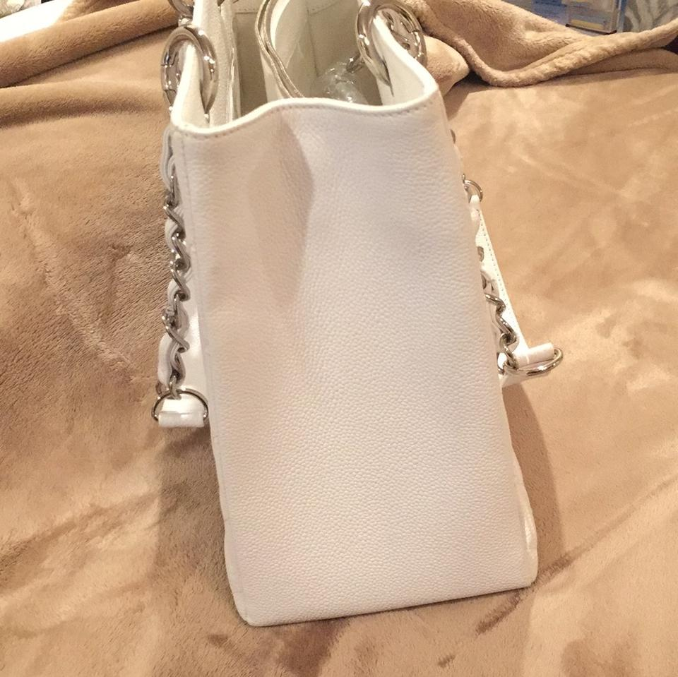 Chanel White Caviar Leather Shopping Tote Clair Grand ...