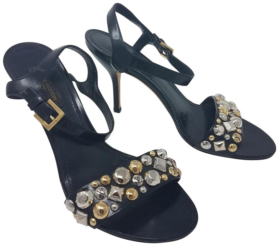 b99663a9906b Louis Vuitton Black Gold Silver Leather Lv Studded Ankle Strap ...