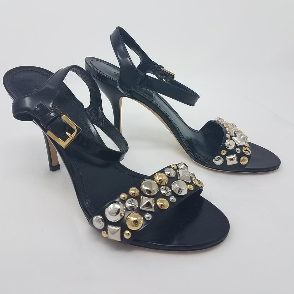 027735c325f4 Louis Vuitton Black Gold Silver Leather Lv Studded Ankle Strap Sandals