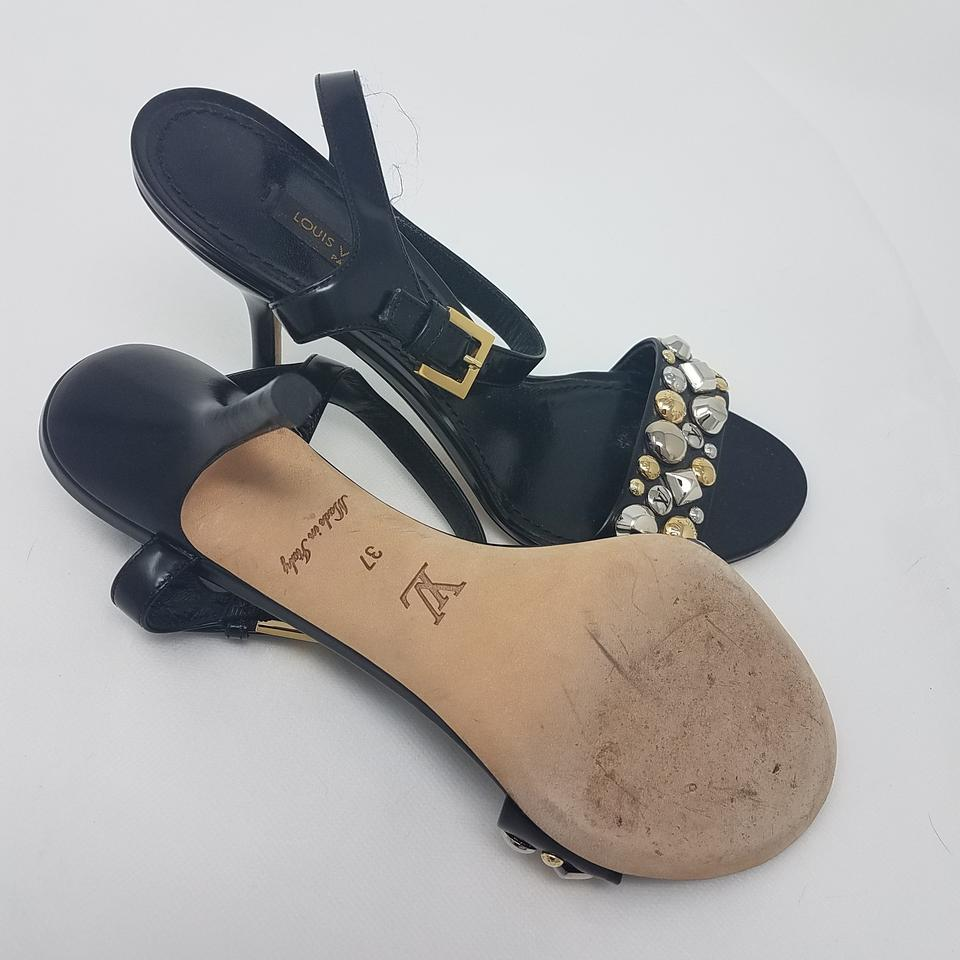 202ffef814f9 Louis Vuitton Black Gold Silver Leather Lv Studded Ankle Strap ...