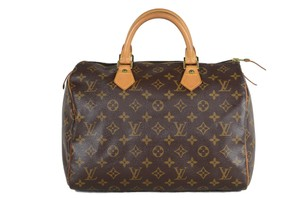 Louis Vuitton Speedy Leather Monogram Tote in Brown