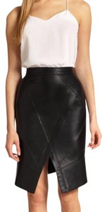 BCBGMAXAZRIA Leather Fitted Chic Skirt Black