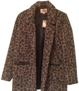H&M Leopard Faux Grey Leather Jacket