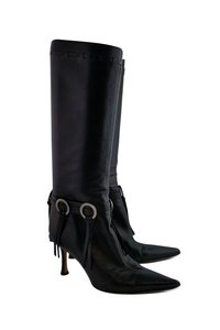 Jimmy Choo Leather Fringe Black Boots