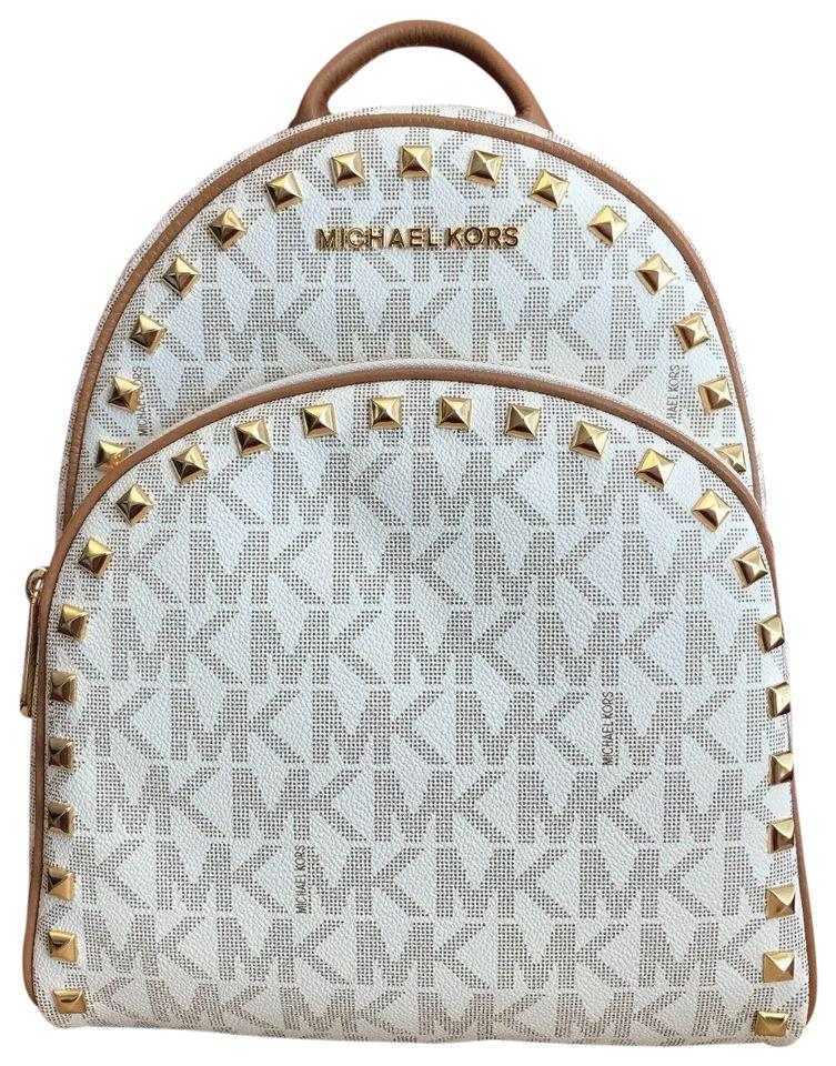b240fea80274 Michael Kors Abbey Medium Frame Out Stud In Vanilla Pvc Backpack ...