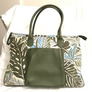 Levenger Purse Handbag Satchel Shoulder Weekend/Travel Tote in White Green