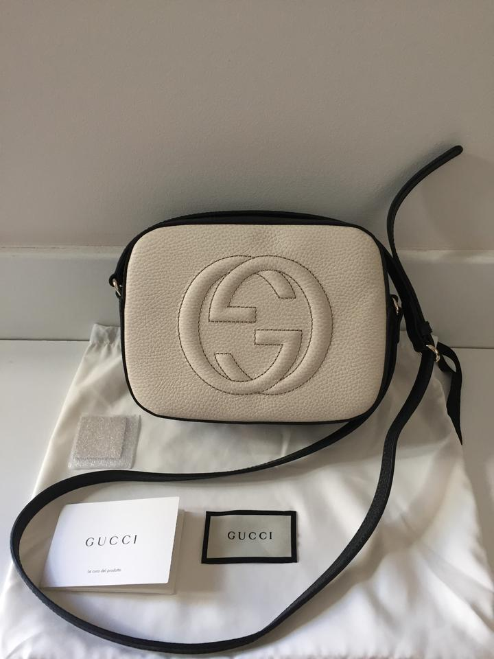 f7278633bd40 Gucci Black White Textured Leather Disco Soho Shoulder Bag - Tradesy