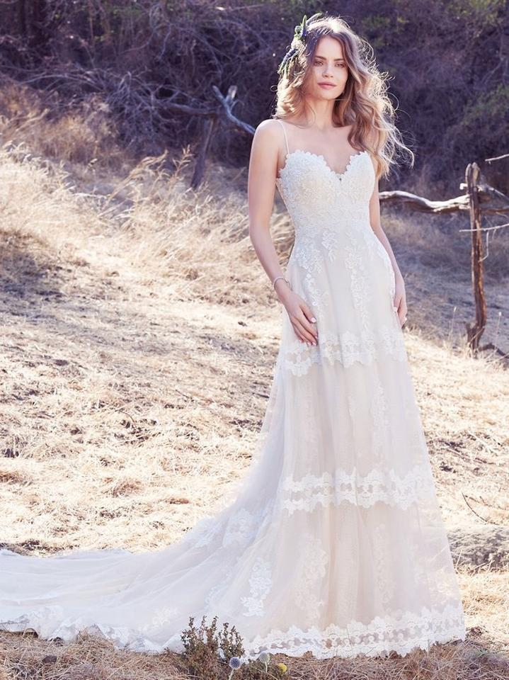 Maggie Sottero Light Gold & Ivory Tulle Emily Vintage Wedding Dress ...