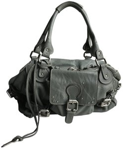 Chloé Leather Silver Hardware Satchel in Green Gray