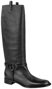 Gucci Riding Knee High Leather Black Boots