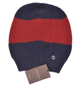 Gucci New Gucci Men's 310777 Wool Blue Red Interlocking GG Baggy Beanie Hat