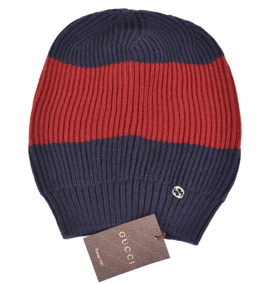 d3f32eece5a Gucci New Gucci Men s 310777 Wool Blue Red Interlocking GG Baggy Beanie Hat  ...